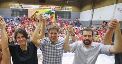 Manuela, Haddad e Boulos na Assembleia Lula livre