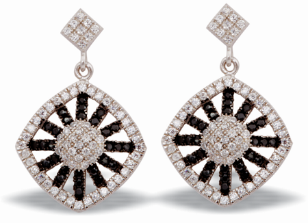 Tanya Rossi Black & White Crystal Dangler Earrings TRE 495 Rs 2800