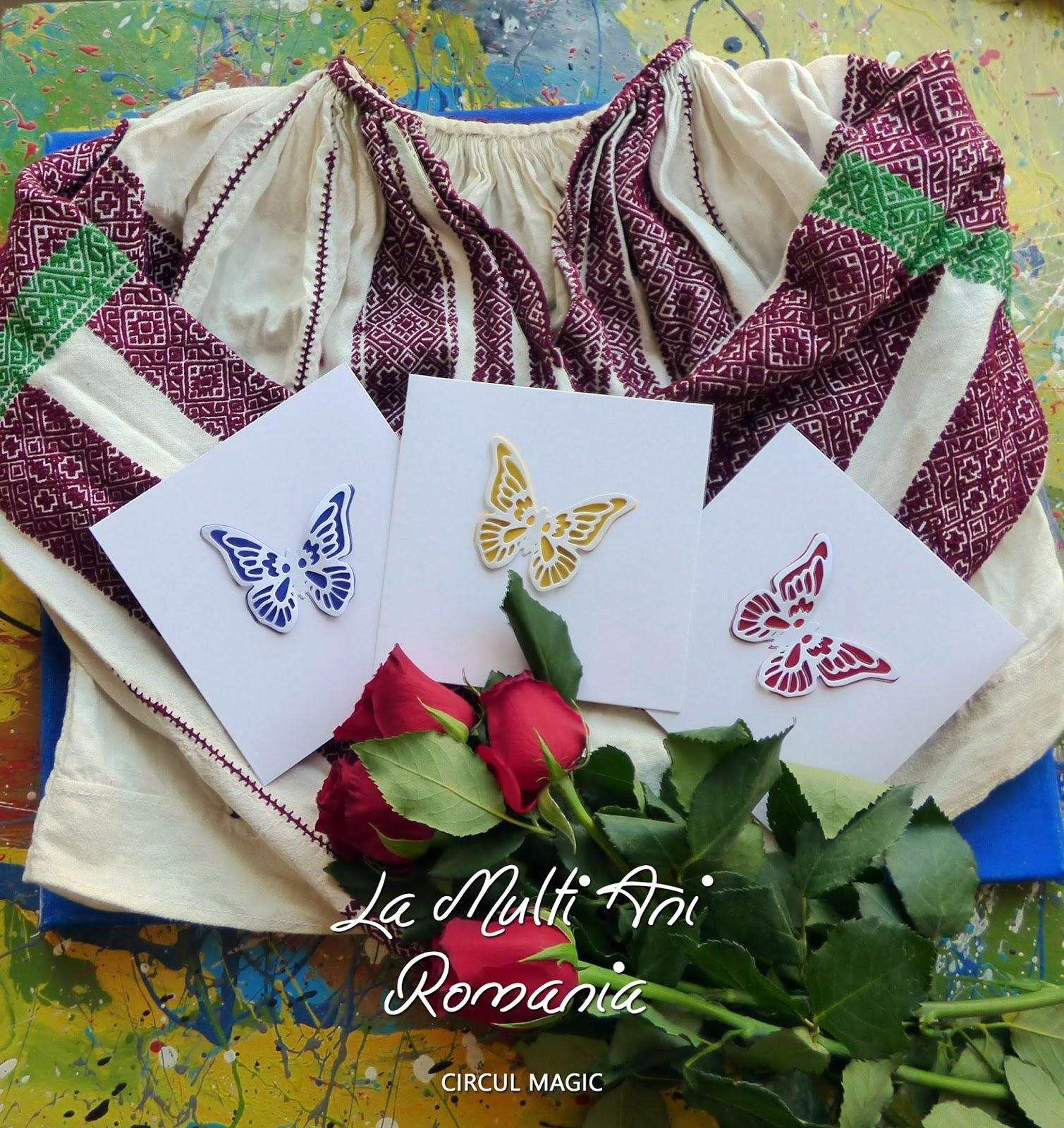 ziua nationala 1 decembrie la multi ani romania - ie tricolor fluture semne cusute