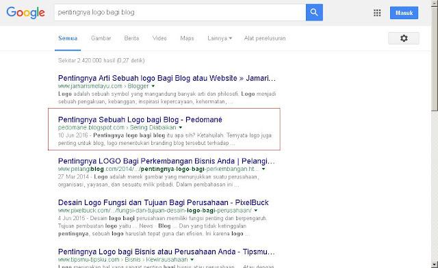 Studi kasus masuk ke halaman pertama google