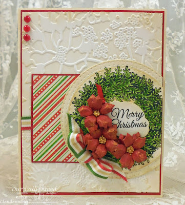 Our Daily Bread Designs, Poinsettia Wreath, Double Stitch Circles, Peaceful Poinsettias, Mini Tags, By Robin Clendenning