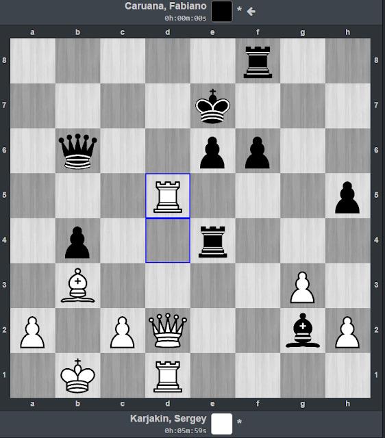 Karjakin realiza un sacrificio de torre para rematar la partida contra Caruana.