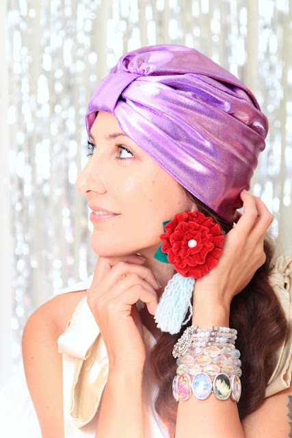 Lavender Pink Metallic Turban by Mademoiselle Mermaid