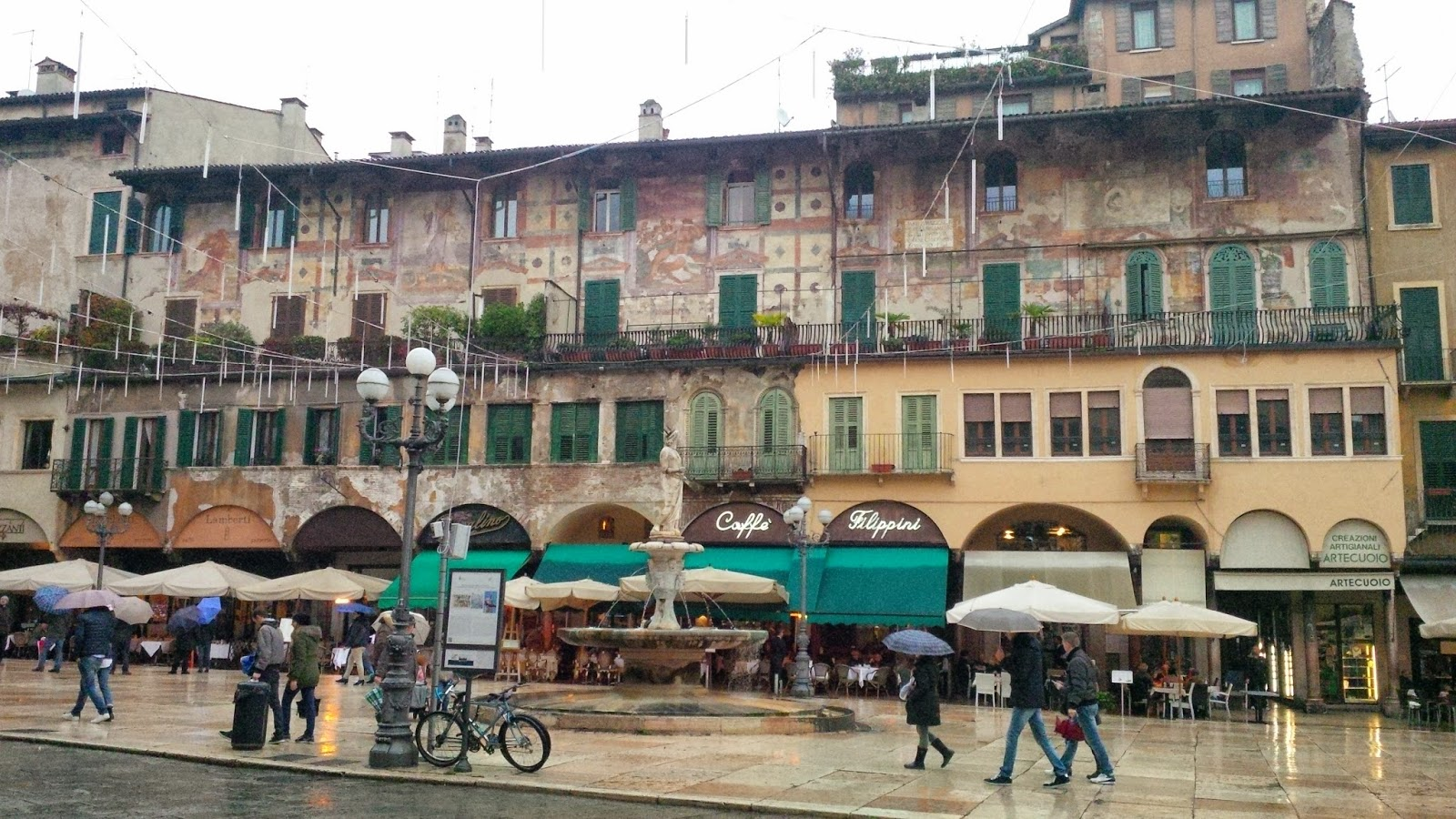 A painted building on Piazza delle Erbe in Verona