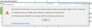error excel not enough memory