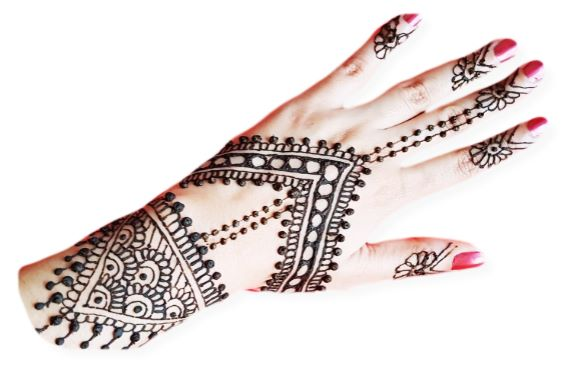 V shaped back hand mehndi