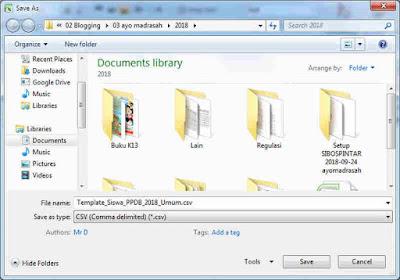 Menyimpan file csv