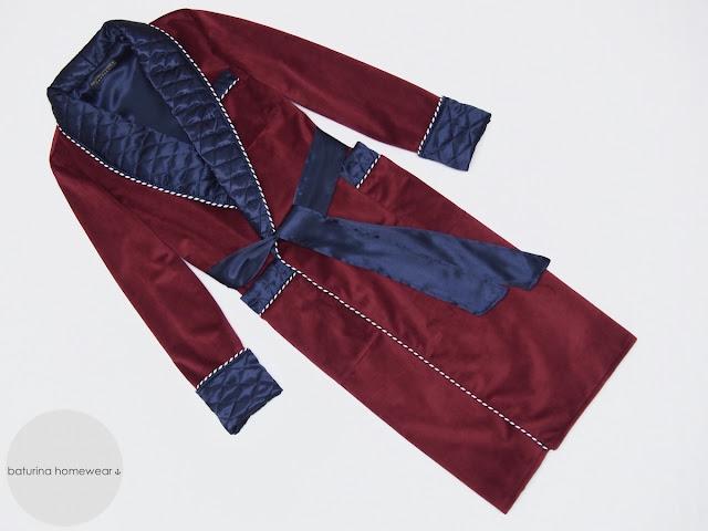 Men's long burgundy velvet dressing gown robe with navy blue quilted silk