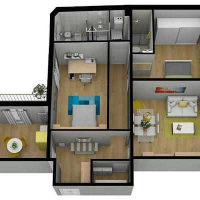 Gambar Denah Rumah Unik Minimalis 2 Kamar Bikin Betah | rumahtopia.com