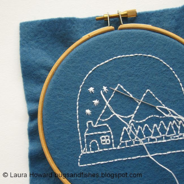 embroidering snow flakes