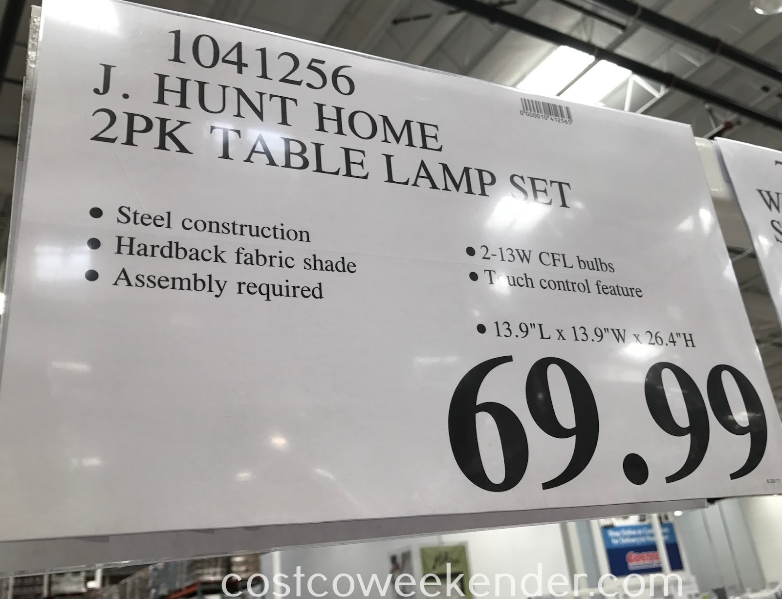 Deal for 2 J. Hunt Home Touch Control Table Lamps at Costco