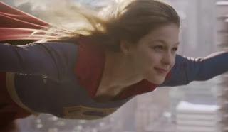 Supergirl Melissa Benoist flying cbs tv trailer