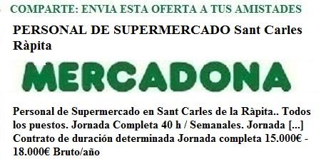 Sant Carles De La Ràpita, Castellón de la Plana. Lanzadera de Empleo Virtual. Oferta Mercadona