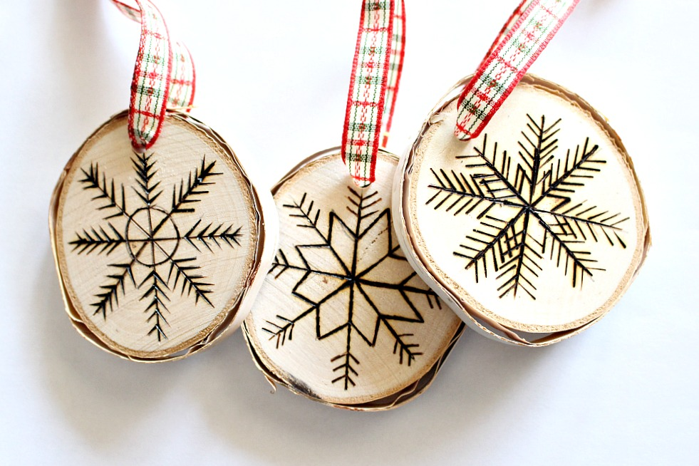 birch slice snowflake ornament