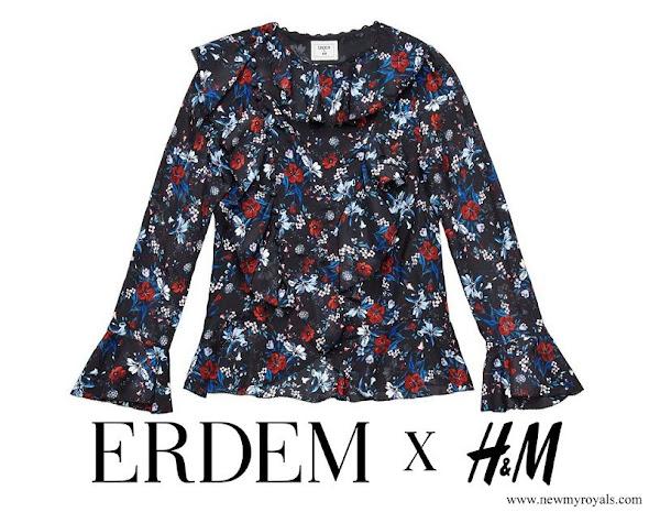 Crown Princess Victoria wore Erdem x H&M collaboration Black floral frill-collar blouse