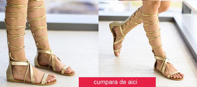 Sandale romane inalte aurii pana la genunchi ieftine 2016