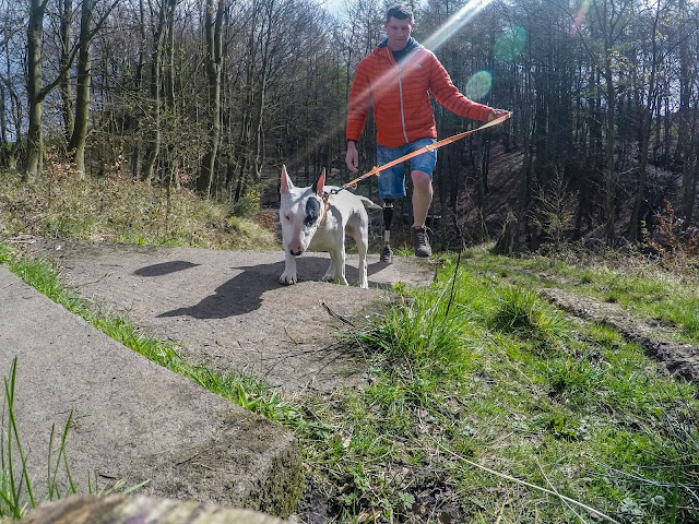 Glenn Johnstone amputee and Baxter the English Bull Twerrier out for a walk