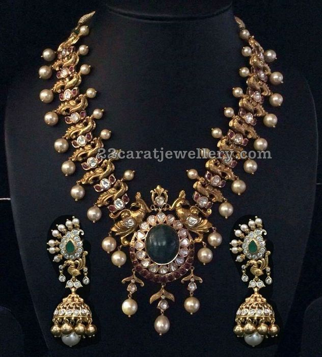 Peacock Necklace Mango Jhumkas