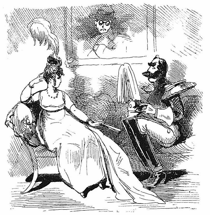 an 1873 French cartoon:  a couple of spies and a suiter