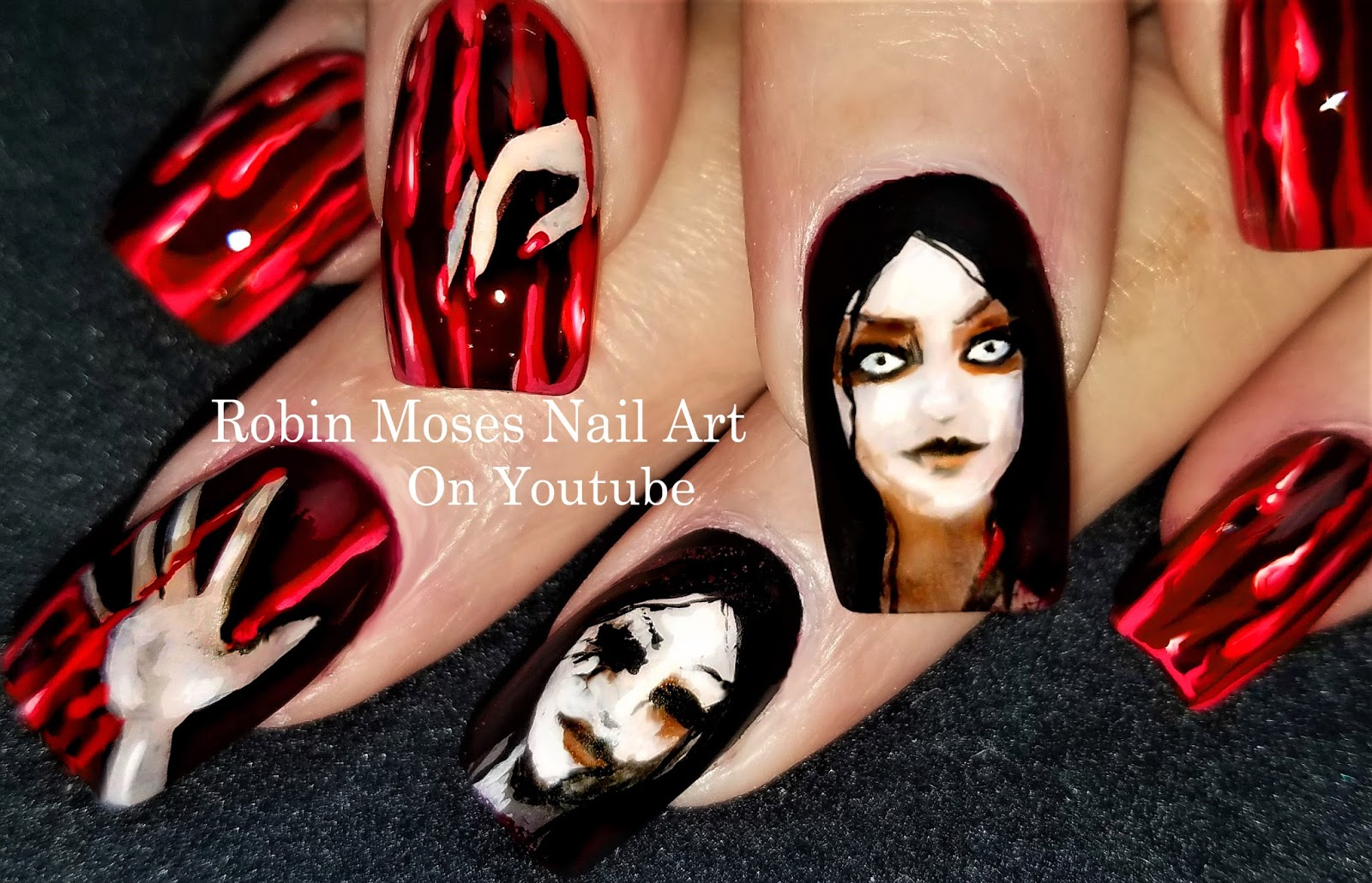 Nail Art By Robin Moses Bloodwitch Halloween Nails Blood Splatter