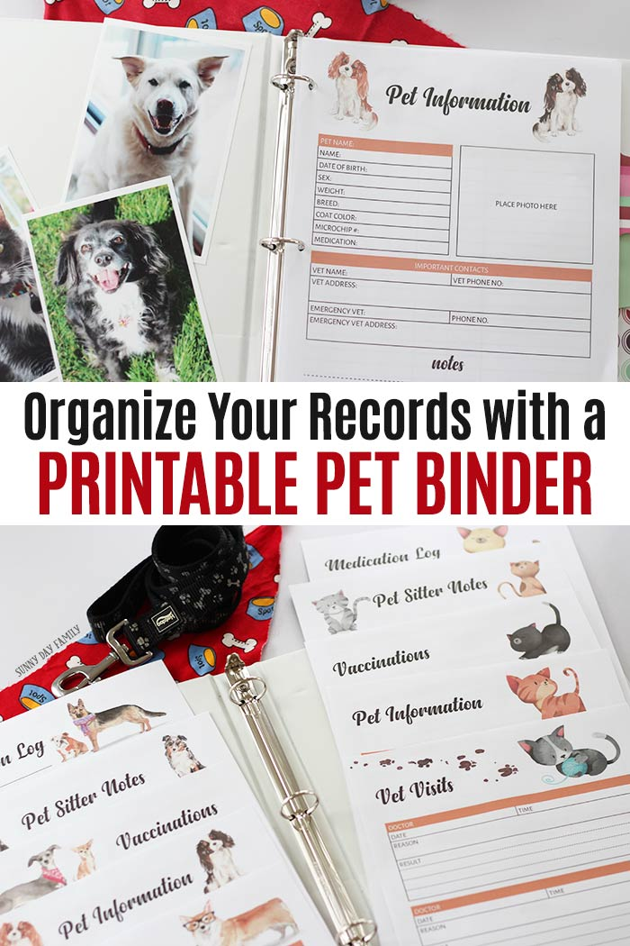 Organize your pet records with a printable pet binder! Keep all your pets information in one place with this 10 page printable pet planner. Includes pages for dogs and cats, with pet information, vaccine records, pet medication log, pet sitter notes and more. A must have for all pet owners - makes a great gift too! #pets #dog #cat #printable #planners #instantdownload