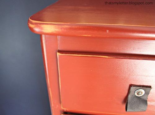 distressed painted dresser detail