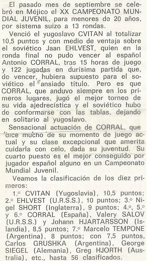 Campeonato Mundial Juvenil México 1981, nota de prensa