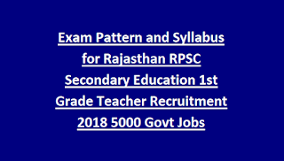 Exam Pattern and Syllabus for Rajasthan RPSC Secondary Education 1st Grade Teacher Vacancy Recruitment 2018 5000 Govt Jobs Online