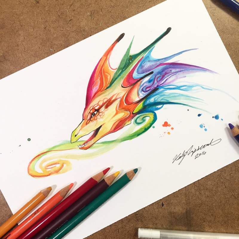 15-Rainbow-Dragon-Bust-Katy-Lipscomb-Colourful-Drawings-and-Illustrations-www-designstack-co