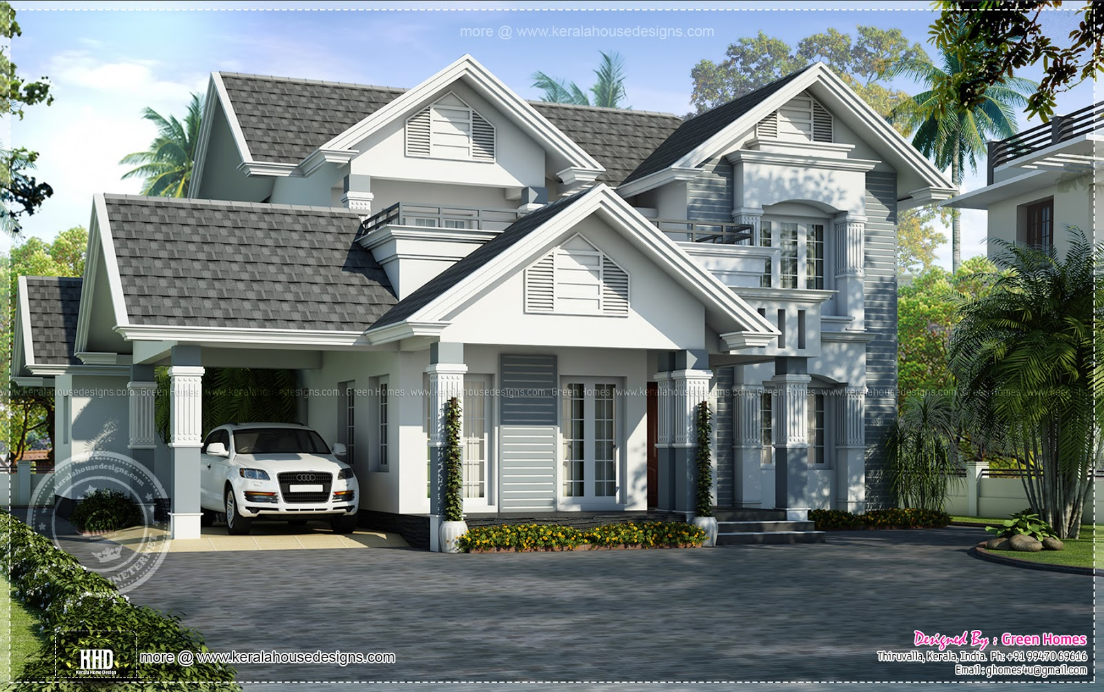 Semi european style beautiful villa home kerala plans for Beautiful model house
