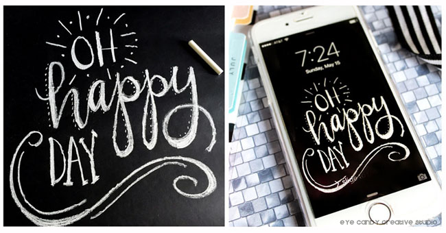 oh happy day chalkboard drawing, digital cell phone wallpaper freebie