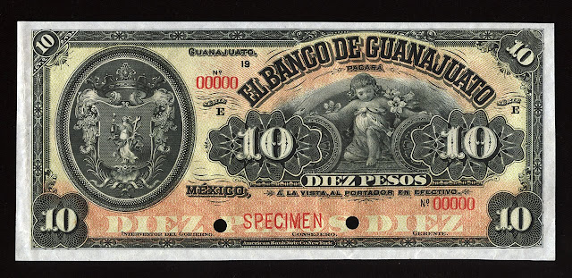 Currency Mexico old banknotes 10 Pesos banknote Banco de Guanajato