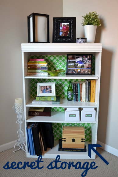 I use the cute wooden box on the bottom of this shelf to store cords for & Small Home Storage Solutions | The DIY Playbook