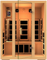 JNH Lifestyles MG301HCB Joyous 3 Person Canadian Hemlock Wood Sauna with 8 Carbon Fiber FAR infrared Heaters, electronic control panel to adjust temperature and duration, sound system, LED lighting, dual-wall for better insulation, T&G construction