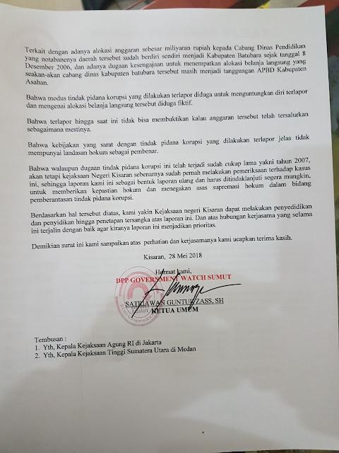 Surat pengaduan Gowa Sumut ke Kejari Kisaran.