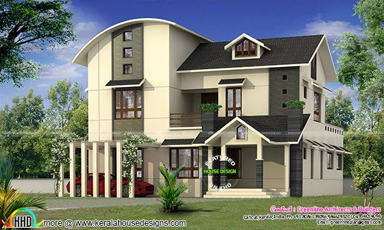2555 sq-ft curved roof home