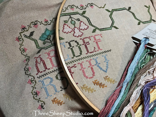 'Three Things Sampler' - design by Moire Blackburn - stitched by Rose Clay at ThreeSheepStudio.com