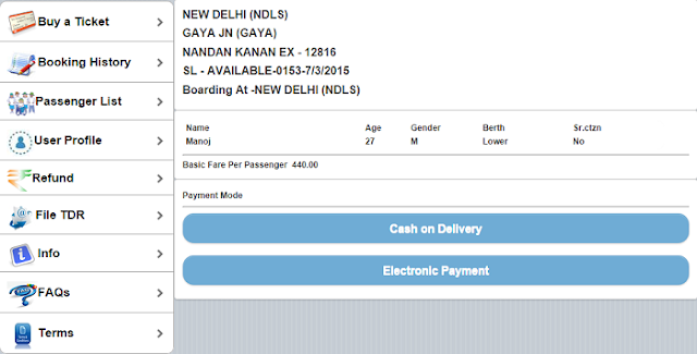 Book My Train Ticket Cash on Delivery