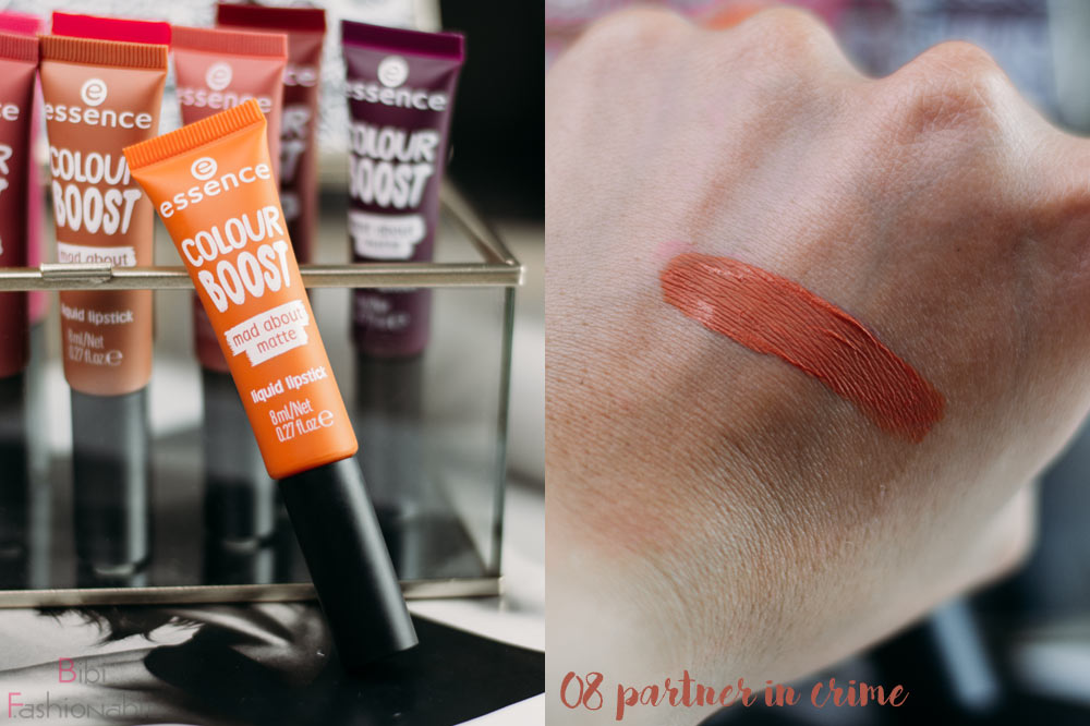 essence colour boost mad about matte liquid lipstick 08 partner in crime inkl Swatch