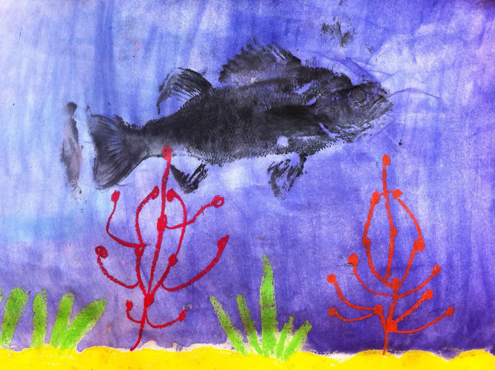 Art Project Girl 1 Fish 100 Success Easy Gyotaku
