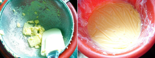Pear and ginger ice cream by Laka kuharica: Pour mixture through a strainer