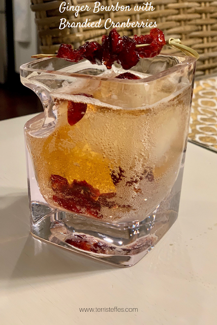 Ginger Bourbon Cocktail using Brandied Cranberries