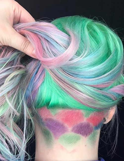 Mermaid Hair Color Idea - Pastel Mermaid Undercut