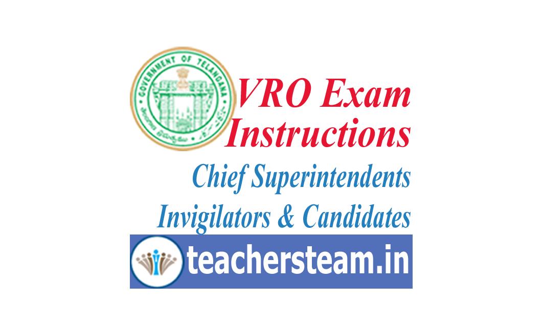 Vro Exam Instructions To The Chief Superintendent Invigilators