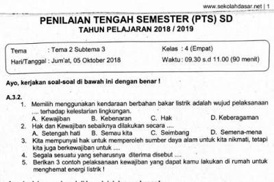Soal Ulangan PTS Kelas 4 Tema 2 Subtema 3