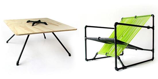 Desain set kursi unik dari pipa besi