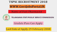 Telangana State Public Service Commission Recruitment 2018– 238 Pharmacist