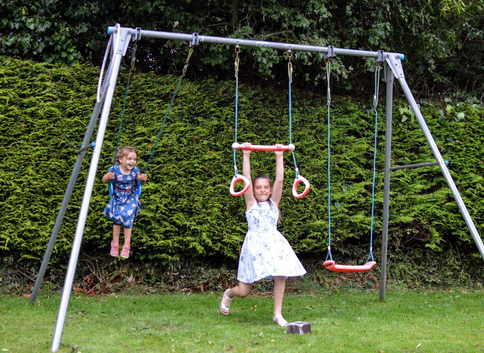 Children playing on swings