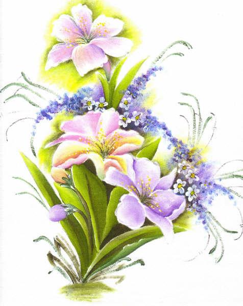 pintura em tecido flores lírios pano de prato
