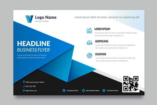 Business flyer template with shapes Free Vector
